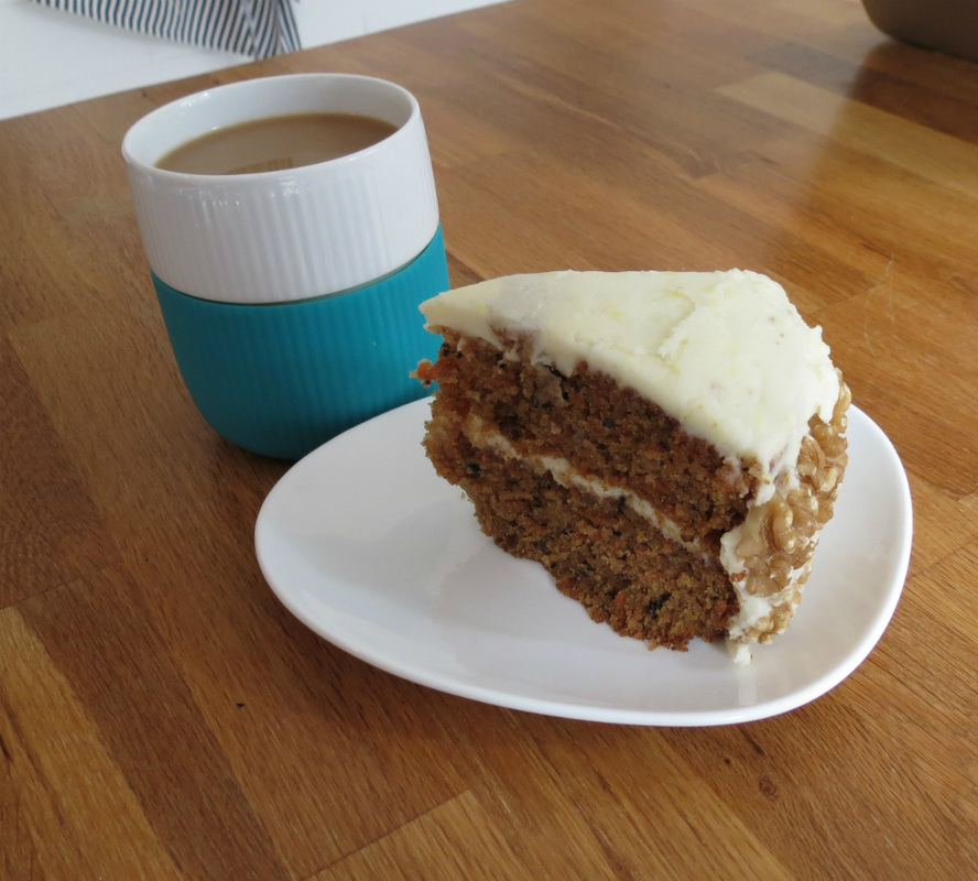 Low FODMAP carrot cake and coffee